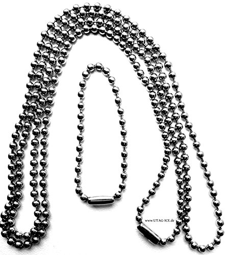 Edelstahlkette Kette V4A Kugelkette Halskette für Anhänger Biker Dog Tag Ø 2,4 mm, ca. 70 + 11 cm, Edelstahl