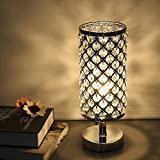 Tomshine Crystal Table Lamp Modern Nightstand Lights for Bedroom Silver Desk Lamp Shades Replacement for Bedside Lamps Living Room Decorative