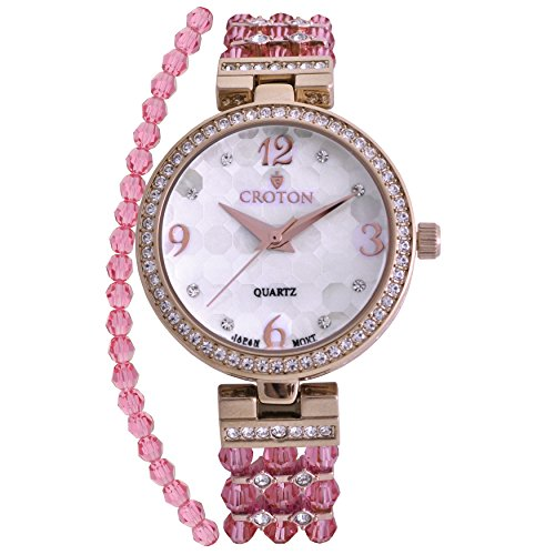 Croton Ladies Pink Mother of Pearl Dial Watch with Crystal Bezel & Bracelet Set - CN407567YLMP (Crystal Bezel Croton)