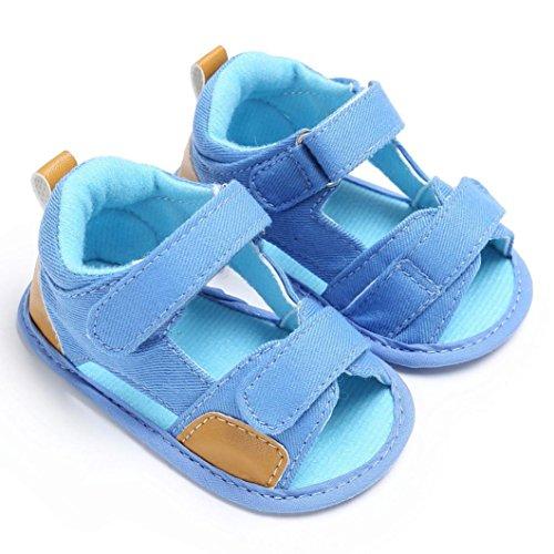 Igemy 1Paar Baby Jungen Kleinkind Segeltuch Säugling Kinder Mädchen Jungen Weiche Sole Krippe Kleinkind Neugeborene Sandalen Schuhe Hellblau