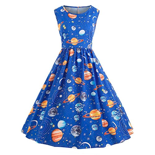 Owill Women Vintage Printing Starry Sky Planet Space Dress (Blue, M) -