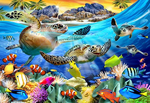 Mini Wooden Jigsaw Puzzle - Turtle Beach by Howard Robinson - 49 Pieces - Made in USA by Nautilus Puzzles