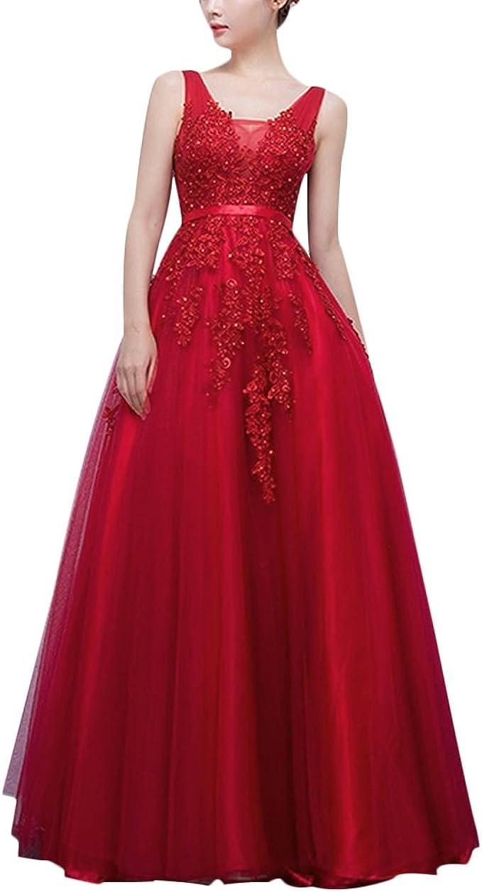 IMEKIS Damen Elegant Ärmellos Lang Kleid Doppel V-Ausschnitt A Linie  Partykleid Rückenfrei Spitze Tüll Applique Abendkleid Hochzeit Brautjungfer