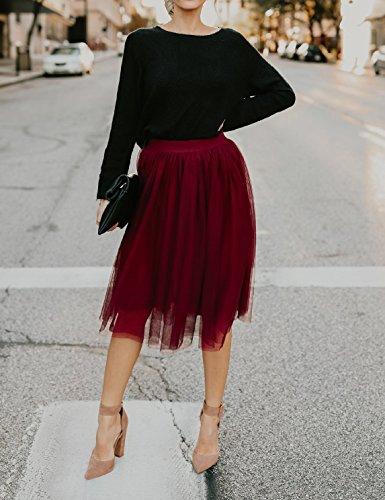 Bouffe Party Fashion Vin Multicouche Midi Cocktail Jupe Couleur de Et Onlyoustyle Fil Jupes Net Rouge Unie Casual Soire Femme pqxPaB
