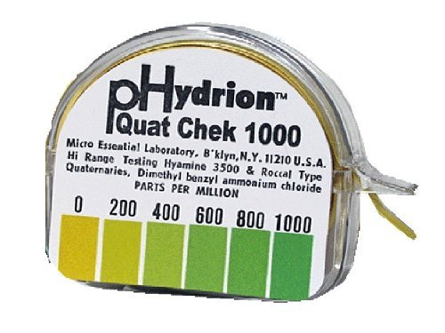 (Micro Essential Lab QC-1001 Plastic Hydrion High Range Quat Check Test Paper Dispenser, Single Roll, Food Service Test Strips, 0 - 1000 ppm (Case of 10))