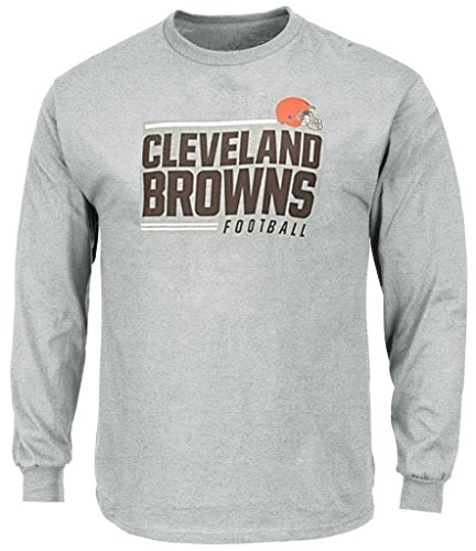 (Cleveland Browns NFL Mens Majestic Line of Scrimmage Long Sleeve Shirt Gray Big Sizes (5XL))