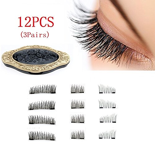 Best False Magnetic Lashes Full Strip No Glue Natural Length Magnet Eye Lashes Set 3D Reusable Fake Lashes Extension for Natural Look(3 Pair/12 Pieces)