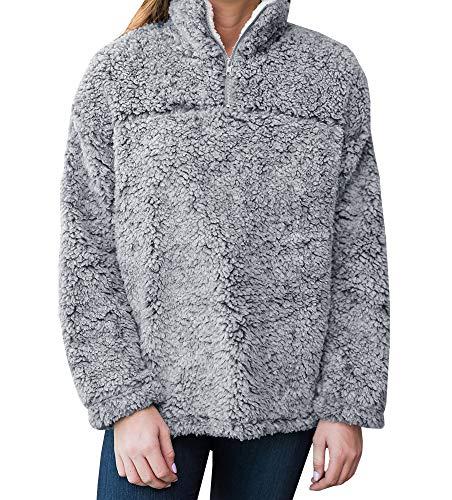 (YOMISOY Womens Long Sleeve Sweatshirt Casual Fleece 1/4 Zip Sherpa Pullovers Tops (Large, Grey))