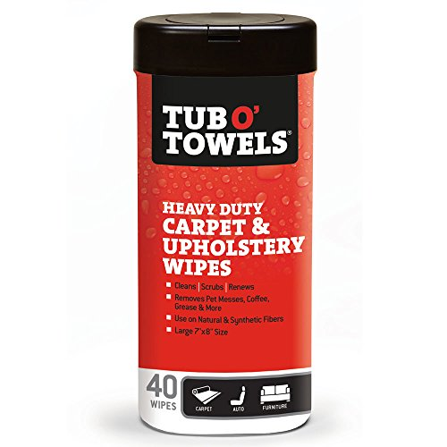 Tub O Towels TW40-CP Carpet And Upholstery Spot Remover Cleaning Wipes (Tub of 40 Wipes) by Tub O Towels