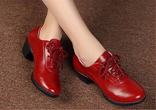 SQIAO-X- Scarpe da ballo Kraft suola di gomma cinturino, Square Dance Dance Latina, Adulti Professional scarpe da ballo, rosso,35
