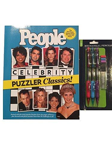 People Crossword Puzzle Gift Set Bundle Pack - People Celebrity Classics Crossword Puzzle Book and Mechanical Pencil Set -