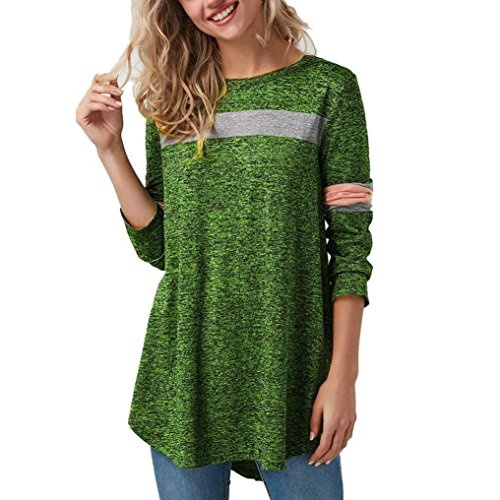 - Besooly Women Sweatshirt Pullover Tops Striped Blouse Patchwork Curved Hem Autumn Long Sleeve Printed T-Shirt