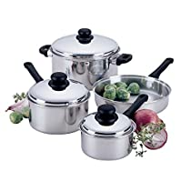 7-Piece Clad Bottom Lodging Industry Cookware Set with Stainless Steel Lids