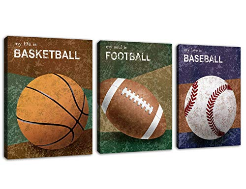 (Sports Wall Art Balls Picture Prints Vintage Canvas Art Basketball American Football Baseball Modern Canvas Artwork for Living Room Bedroom Office Wall Decor Framed Ready to Hang 12
