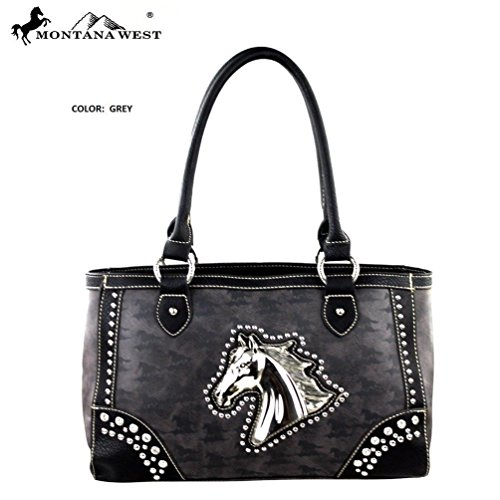 Montana West MW249-8394 Horse Collection Handbag-Grey