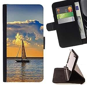For Samsung Galaxy S6,S-type Naturaleza de Lonely Barco- Dibujo PU billetera de cuero Funda Case Caso de la piel de la bolsa protectora