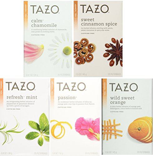 Tazo White Tea (Tazo Herbal Tea 5 Flavor Variety Pack Sampler (Pack of 5, 100 Bags)