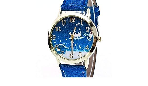 Scpink Reloj de Cuarzo para Mujer, Navidad, Papá Noel, Espacio analógico, Relojes Femeninos Lindos Relojes de señora Reloj de Cuero PU Nuevo (Azul): ...