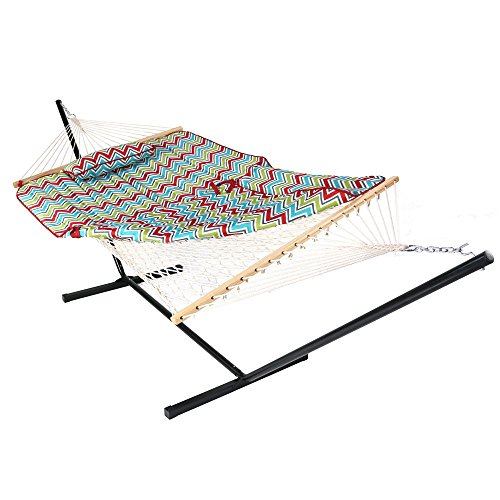 Sunnydaze Cotton Rope Hammock with 12 Foot Portable Steel Stand and Spreader Bar, Indoor or Outdoor Use, Pad and Pillow Included, Multi-Color Chevron ()