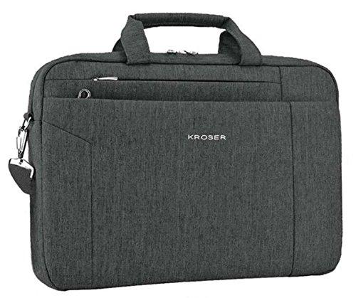 KROSER Laptop Bag Briefcase Shoulder Messenger Bag Laptop Bag Satchel Tablet Bussiness Carrying Handbag Laptop Sleeve for Women and Men 15.6 Inch-BlackGrey