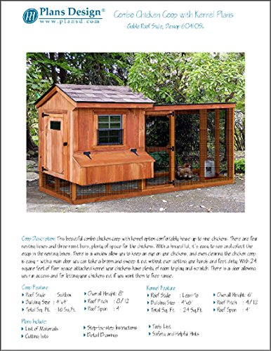 Backyard Chicken Coop Plans with Kennel / Run, Salbox / Lean-to 4 ft x 10 ft Two-in-One Plans , Design (Plans Yard)