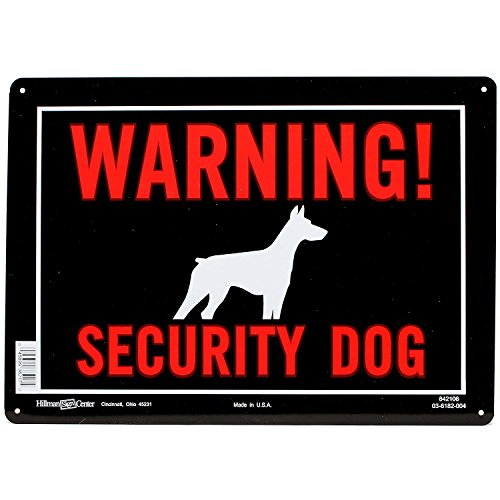 (Hillman 842106 Warning Security Dog Sign, Black, Red and White Aluminum Metal, 10x14 Inches 1-Sign)