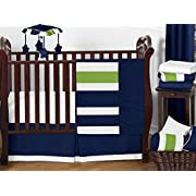 Sweet Jojo Designs 11-Piece Navy Blue and Lime Green Stripe Baby Boy Bedding Crib Set Without Bumper