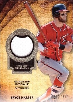 1 Washington Nationals Jersey - 2017 Topps Tier One Relics #T1R-BH Bryce Harper Washington Nationals Game Worn Jersey Baseball Card - Only 331 made!