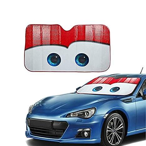 Parasol Hjuns. Parasol para parabrisas frontal de coche, con diseño de dibujos animados, 130 cm x 70 cm (rosso)