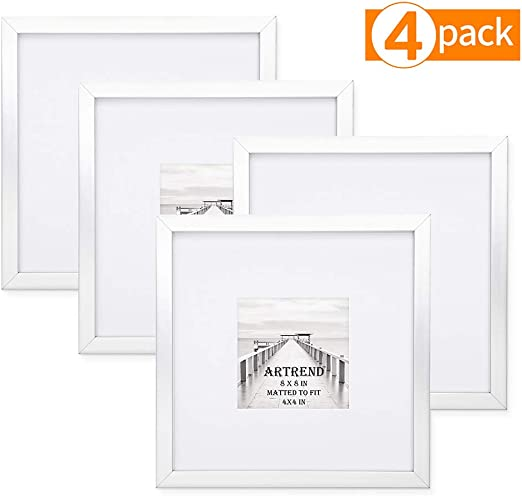 Hanging Photo Frame Vintage Glass Picture Square Display 8x8 Photos