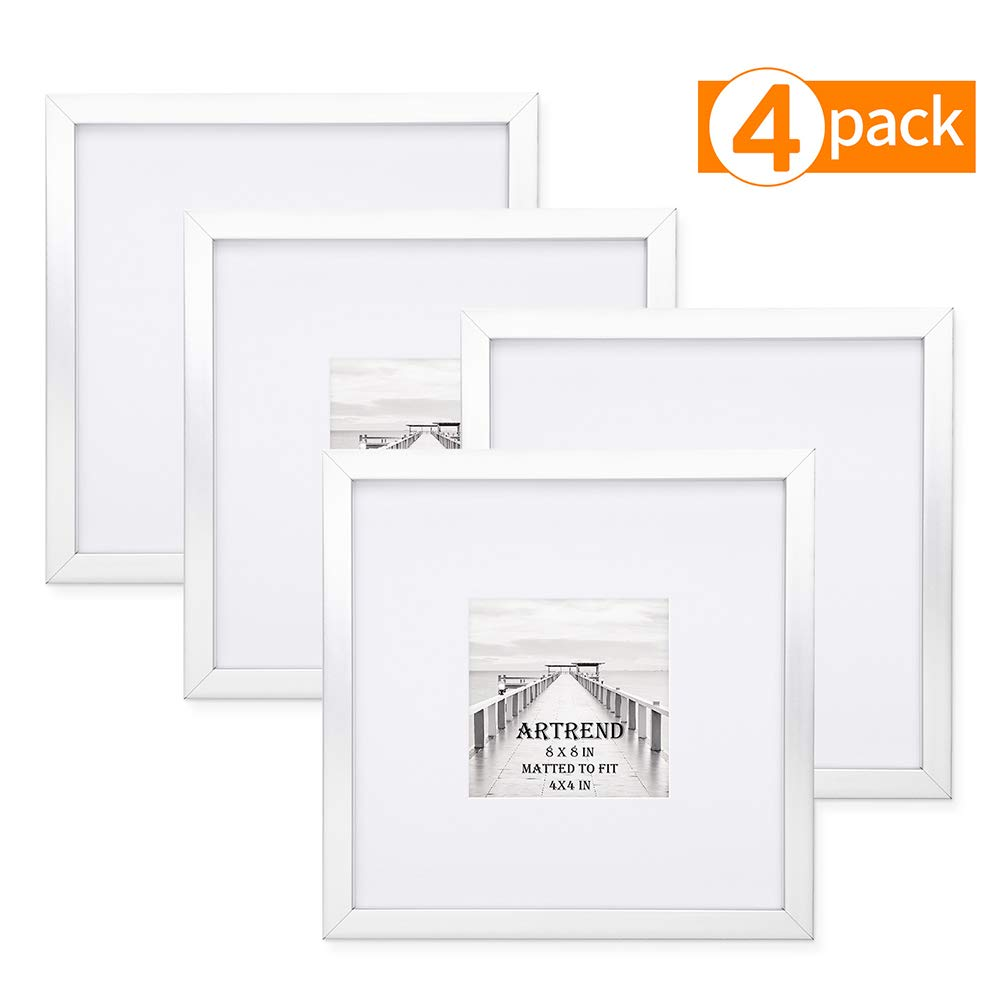 ARTrend, Instagram Picture Frames 8x8 in Silver, Display 4x4 Photo with Mat or 8x8 Without Mat. Set of 4 Pack for Wall and Tabletop, Real Glass Front. by ARTrend