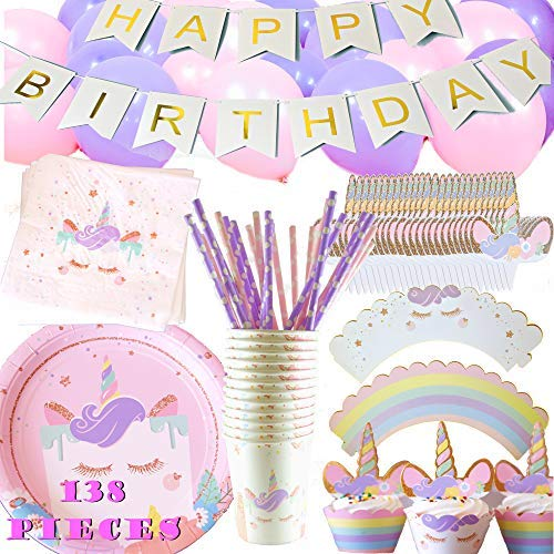 Unicorn Party Supplies Set Birthday - Plates, Cups, Napkins, Balloons, Paper Straws, Cupcake Wrappers and Toppers, Happy Birthday Banner - Set for 12 Guests - Cute Birthday Party Kit by JustBeccuz