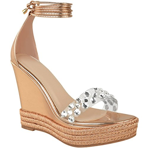 ns Diamante Wedge Sandals Ankle Strappy Party Wedding Summer Size 6 ()