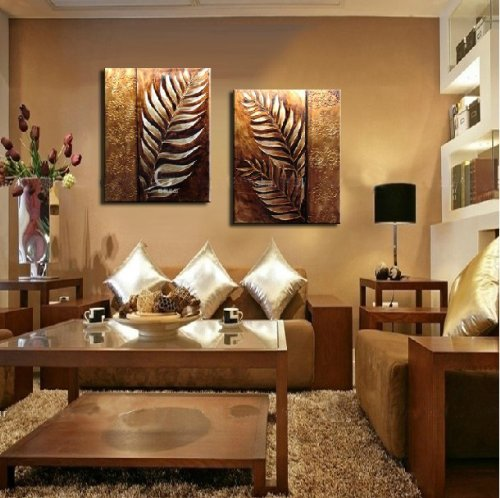 Yatsen Bridge Handmade 2 Piece Golden Modern Contemporary Abstract Oil Painting on Canvas Wall Art Leaf Pictures for Living Room Home Decorations Wooden Framed