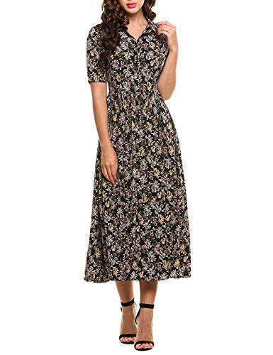 Zeagoo Womens Vintage Style Short Sleeve Floral Print Long Maxi Dress