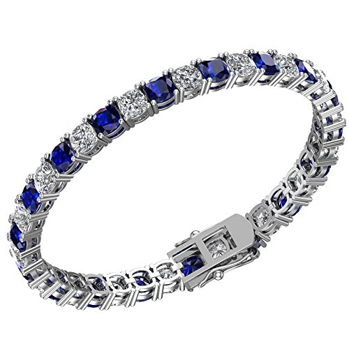 (Silver Smile Sterling Silver 18 CTTW Blue Sapphire and White Topaz 5mm Cushion Cut Tennis Bracelet for Women)