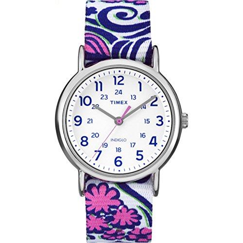Timex Women s TW2P90200 Weekender Reversible Blue Swirl Nylon Slip-Thru Strap Watch