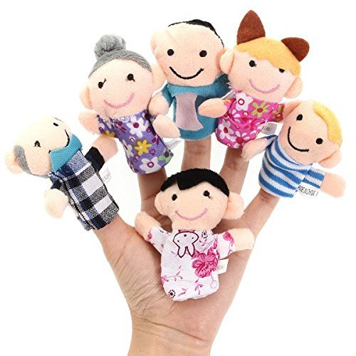 [Free Shipping] 6 Pcs Finger Puppets Plush Cloth Toy Baby Bed Stories Helper Doll // 6pcs dedo familia marionetas de tela de felpa muñeca de juguete bebé historias