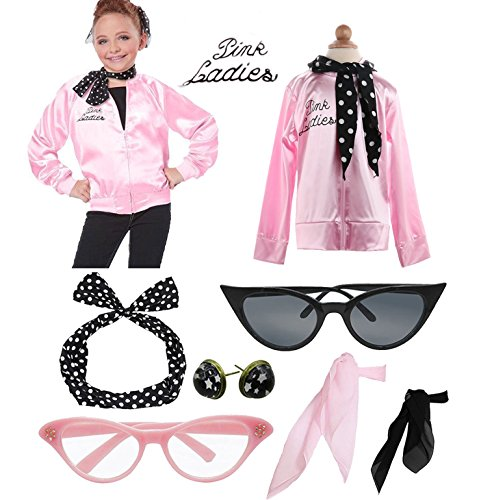 Child 1950s 50's Pink Party Jacket Ladies Costume Outfit Accessories Set