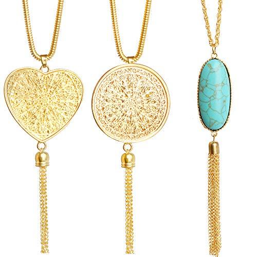Hicdaw 3PCS Long Necklaces for Women Long Tassel Necklace Pendant Circle Heart Necklaces Tassel Necklace Set