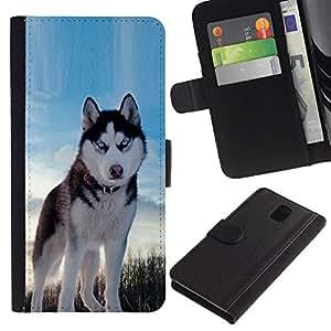 """Samsung Galaxy Note 3 III N9000 N9002 N9005 , la tarjeta de Crédito Slots PU Funda de cuero Monedero caso cubierta de piel ("""" Alaskan Malamute Husky Blue Winter North"""")"""