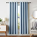 AmazonBasics Room-Darkening Blackout Curtain Set with Grommets - 52' x 84', Light Blue