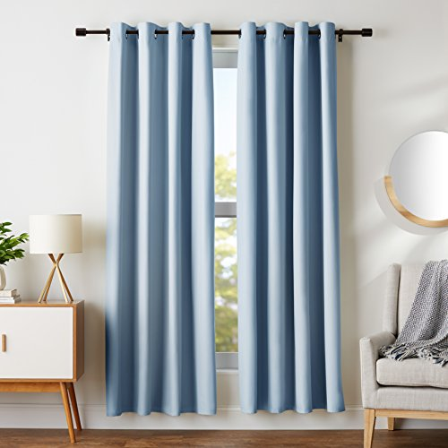 (AmazonBasics Room-Darkening Blackout Curtain Set with Grommets - 52