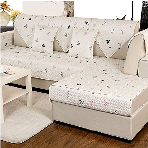 DW&HX Geometric patterned Sofa slipcover Furniture protector,Cotton and linen 3 seats Non-slip Quilted Sofa protector perfect for pets dogs and kids-A 35x47inch(90x120cm) ()