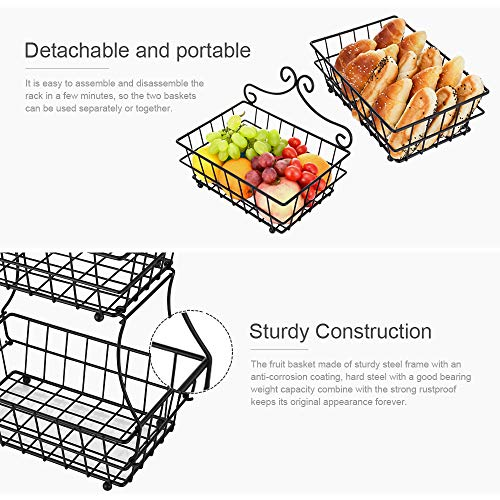 Oakome 2 Tier Fruit Baskets - Metal Bread Basket Stand with Free Screws for Fruit, Vegetables, Snacks, Home Kitchen and Office by oakome (Image #1)