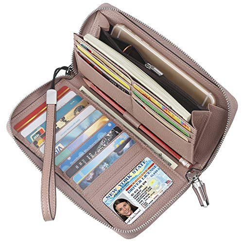 (Lavemi Women's RFID Blocking Real Leather Zip Around Wallet Clutch Large Travel Purse Wristlet(Large Size Dark Pink))