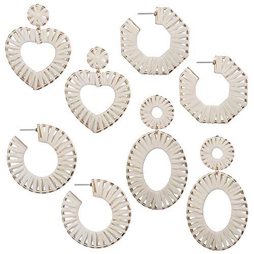 AIDSOTOU Rattan Earrings for Women Lightweight Geometric Statement Earrings Handmade Straw Wicker Braid Rhombus Hoop Drop Dangle Earrings 2-4 Pairs - Geometric Designer Earrings