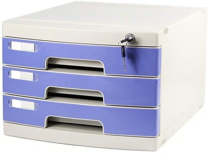 File Cabinets File Cabinets Lock Multi-Layer Plastic Drawer Type Office Storage Archive Box Color-Blue Small White Label Anti-Off Buckle File Cabinet Color : Blue, Size : 10-Layers