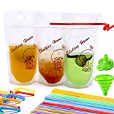 Zipper Drink Bag Clear Stand-up Plastic Pouches Bags with Drink Straws, Heavy Duty Hand-Held Translucent Reclosable Heat-Proof Bag 2.7 Bottom Gusset