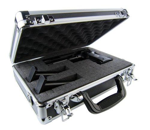 Cheapest Price! Common Sense Cases Defender Aluminum Single/Double Pistol Case, Black/Silver, Standa...